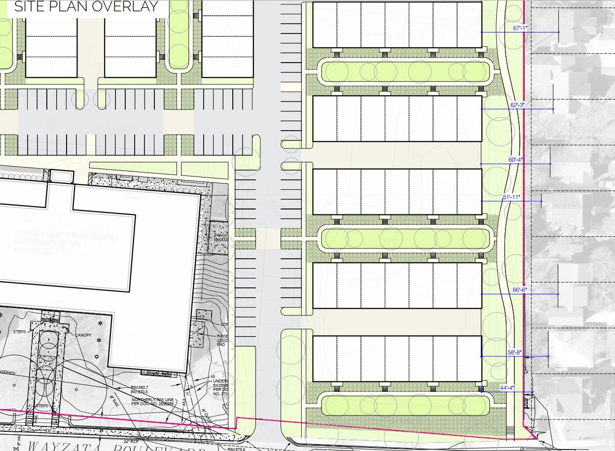 Site Plan Home and townhome distance